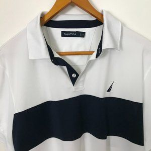 Nautica Short Sleeve White Navy XL Shirt